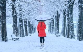 woman walking alone in winter