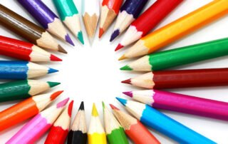 the Bryson core values colourful pencil crayons