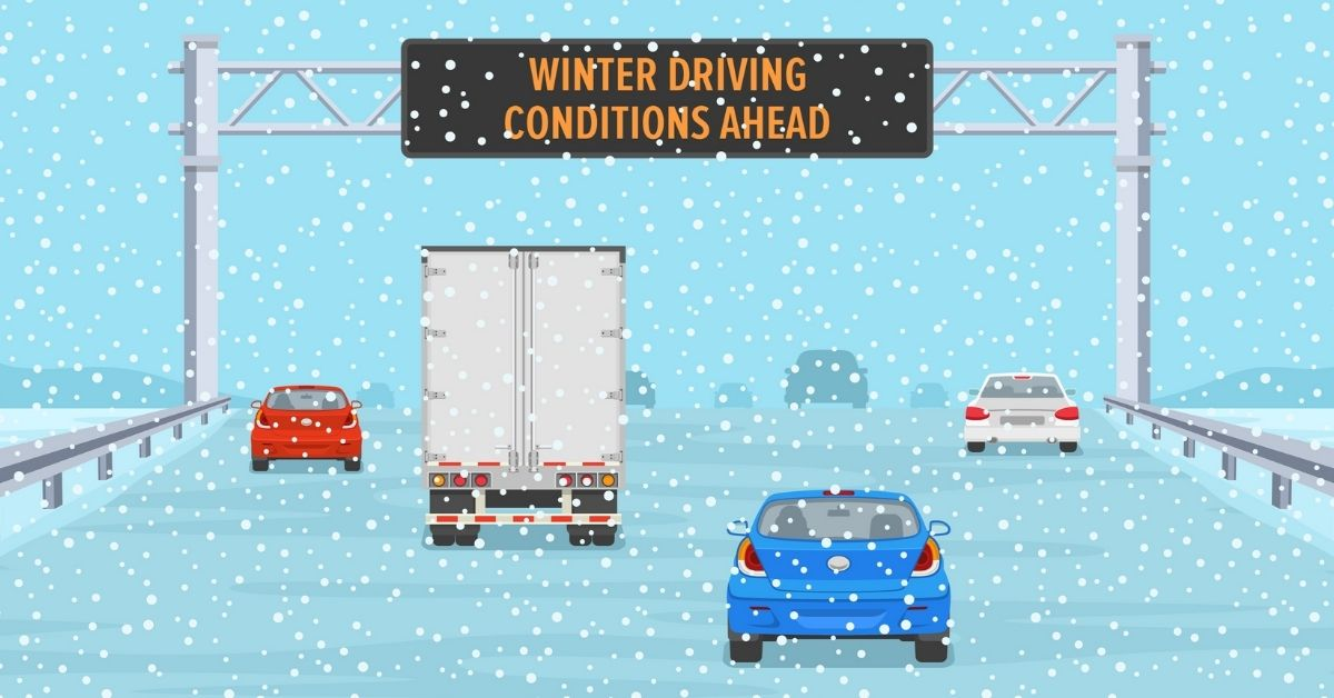 Winter Driving Safety on highway 401 in winter conditions