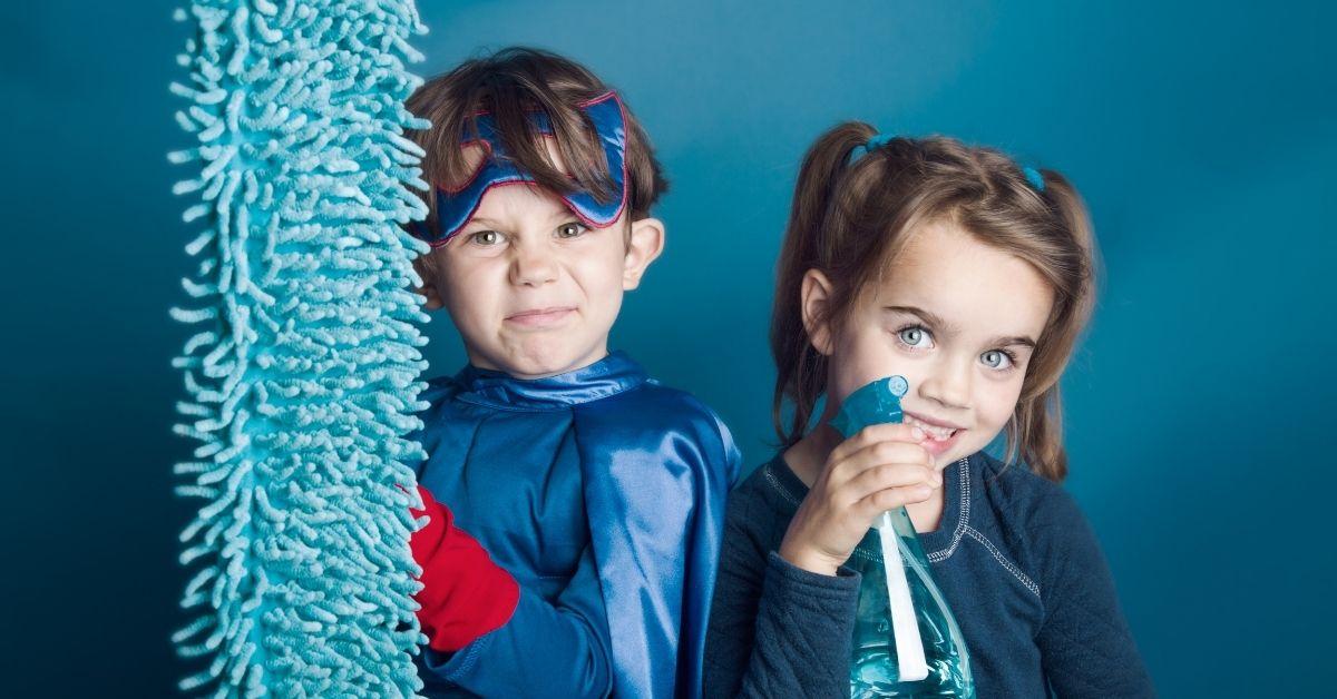kids cleaning inside in winter