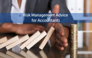 Accountant protecting dominos from falling. Represents risk management.