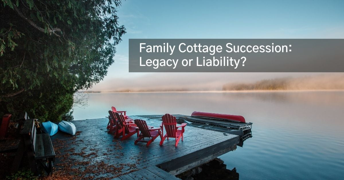 Red chairs on a dock in Ontario with text of Family Cottage Succession Legacy or Liability overlayed